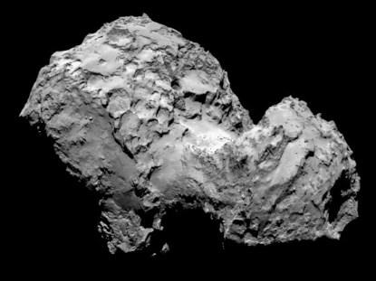 Comet 67P/Churyumov-Gerasimenko as seen by Rosetta's OSIRIS narrow-angle camera (courtesy NASA).