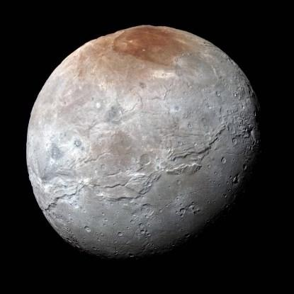 An enhanced color image of Pluto's largest moon, Charon (NASA).