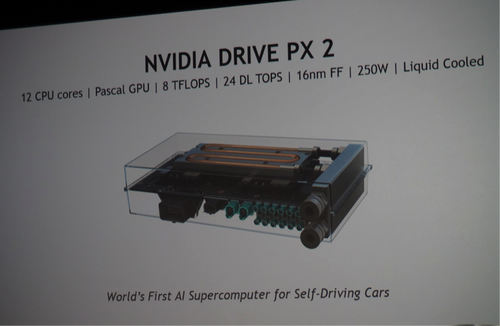 The water cooled NVIDIA DRIVE PX 2 unit. (Photo credit: Kevin Krewell, Tirias Research)