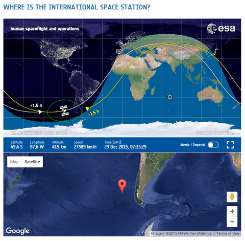 A screenshot from the ESA's Where is the International Space Station? webpage (source: ESA/NASA)