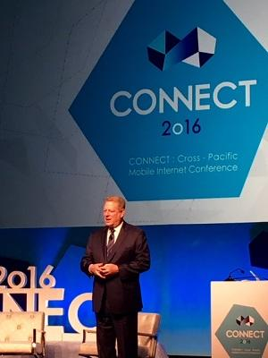 Al Gore speaking at Connect 2016.