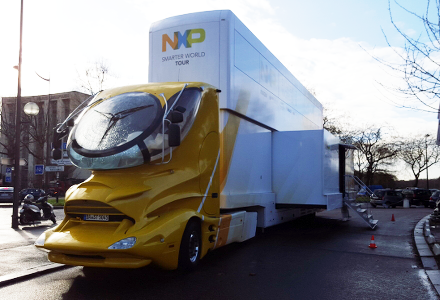 Truck-based exhibition of NXP expertise in IoT in Paris (January 2016).