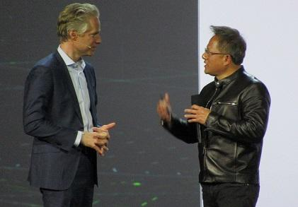Head of Audi America, Scott Keough (left) and Nvidia's CEO Huang