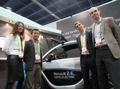 From left to right: OSVehicle's Yuki Liu; Tin Hang Liu, PSVehicle's founder & CEO; Pierre Delaigue, innovation project manager at Renault; and Richard York, vice president of Embedded Marketing at ARM