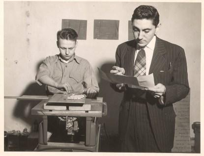 H. Joseph Gerber working with a technician to build one of his early computing devices circa 1950 (Source: The family of H. J. Gerber, Gerber Scientific, Inc., and Ucamco N.V.; Reproduced with permission)