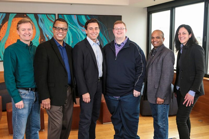L-R: Peter Rander, Argo AI COO; Ken Washington, Ford VP of research and advanced engineering; Mark Fields, Ford CEO; Bryan Salesky, Argo AI CEO; Raj Nair, Ford executive vice president, CTO; and Laura Merling, Ford Smart Mobility LLC VP of autonomous vehicle solutions. (Source: Ford)