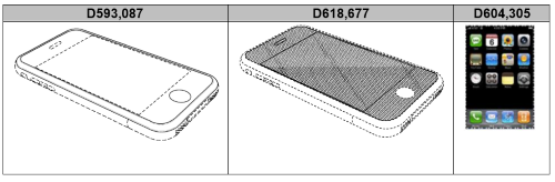 In a 2012 jury trial, Samsung was charged with nearly $400 in damages for handsets found to violate the three Apple design patents above. Dotted lines show patented features. (Image: Apple) Click here for larger image
