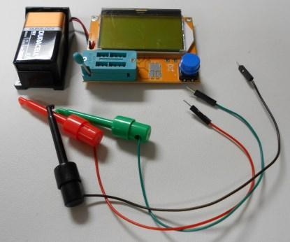 Mega328 ESR Transistor Resistor Diode Capacitor Mosfet Tester w/ Test hook (Source: Max Maxfield)