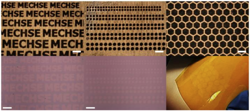 Optical microscope images of various stencil masks with sophisticated micro-scale features (top row) and corresponding graphene array patterns transferred onto a flexible Kapton film (bottom row) (Source: University of Illinois, Urbana-Champaign) Click here for larger image