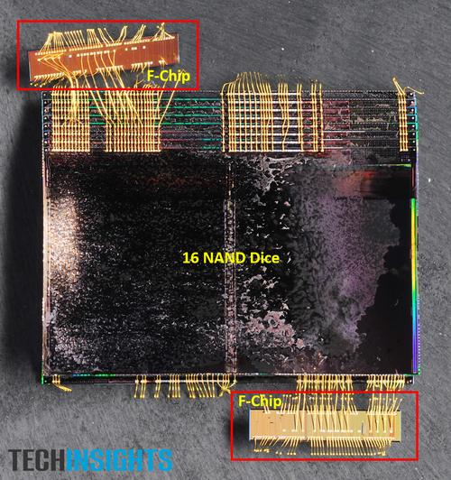 Figure 1. Samsung 48L V-NAND device stacked with sixteen vertically stacked NAND dice and two F-Chips, teardown image (Source: TechInsights)