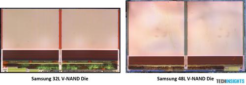 Figure 2. Comparison die photograph with 32L and 48L V-NAND (Source:  TechInsights)