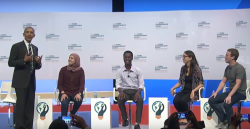 From left, Obama, Mai Medhat, Jean Bosco Nzeyimana, Mariana Costa Checa and Mark Zuckerberg at GES 2016. (Image: YouTube)