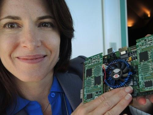 Micron's Woodbury showed a prototype 3D XPoint SSD. (Images: EE Times)