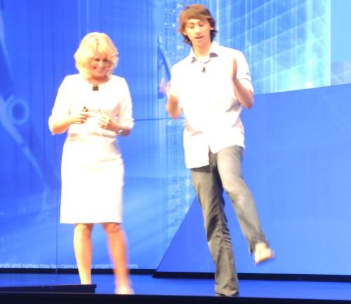 Slater Victoroff of Indico surprised Diane Bryant by arriving on stage in flip flops.