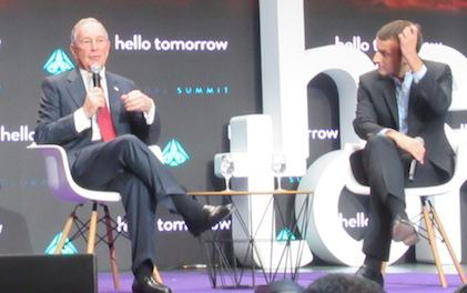 Michael Bloomberg and Emmanuel Macron at Hello Tomorrow Summit in Paris