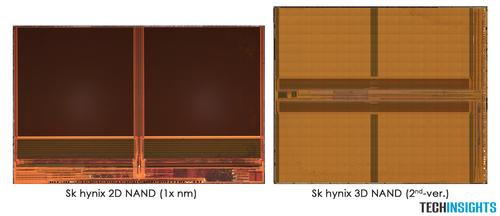 Figure 1. 2D planar 1x nm and 36L 3D NAND die photographs from SK Hynix (Source: TechInsights).