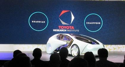 Toyota's Concept-i vehicle, with built-in artificial intelligence, nicknamed Yui, designed to learn from and grow with the driver.