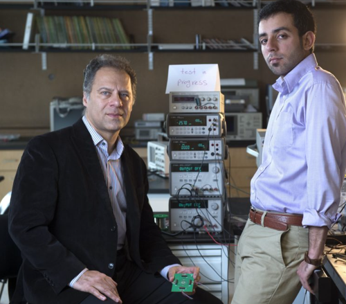 UCI professor of electrical engineering & computer science Payam Heydari (left) and grad student researcher Peyman Nazari have engineered a circularly polarized radiating element that could have widespread applications.