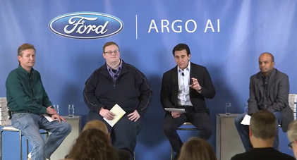 From L-R: Peter Rander, Argo AI COO; Bryan Salesky, Argo AI CEO; Mark Fields, Ford CEO; Raj Nair, Ford executive vice president, CTO (Source: Ford)