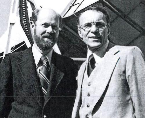 Former Bell Labs researchers Robert Wilson (left) and Arno Penzias (right) discovered the cosmic background microwave radiation resulting from the Big Bang.