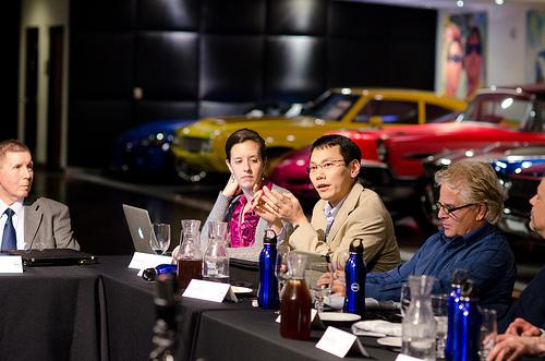At the Dell Healthcare Think Tank, @DrJosephKim, center, shared his view that providers are hesitant to use tools like social media to educate patients, because they themselves need to be educated on those tools.