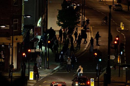 Rioters on Chalk Farm Road in August 2011