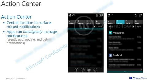 A screenshot displays an 'Action Center' Microsoft will allegedly debut with Windows Phone 8.1.(Source: Winphollowers)