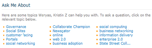 'Ask Me About' profile tagging in NewsGator.