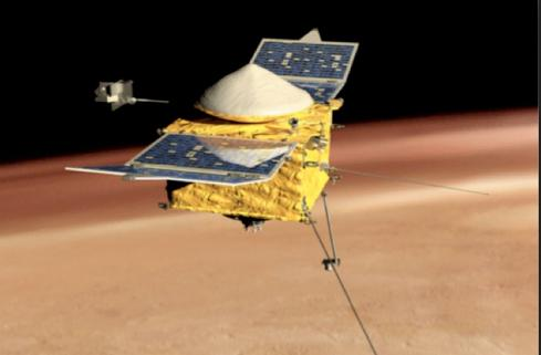 NASA's MAVEN spacecraft is first to explore Mars' atmosphere. (Courtesy of NASA.gov)
