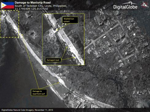 Satellite images reveal damage near Tacloban, Philippines. (Source: DigitalGlobe)
