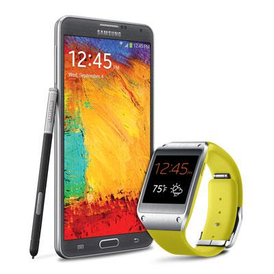 Samsung Galaxy Note 3 smartphone and Galaxy Gear smartwatch.