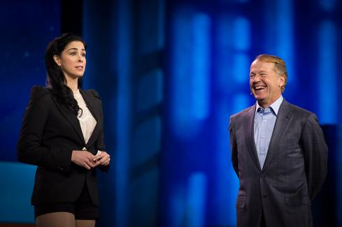Can IoE be trusted with personal data?Actress and comedienne Sarah Silverman made an amusing appearance, both in person and in a video, during Cisco CEO John Chambers' keynote. She sprinkled a few of her trademark obscenities into the presentation; when she dropped an f-bomb  during the video, it was bleeped out, though her other choice four-letter words (as well as a seemingly off-script jab at Hollywood director Michael Bay's stress-induced breakdown during Samsung's CES presentation) ran uncensored. 