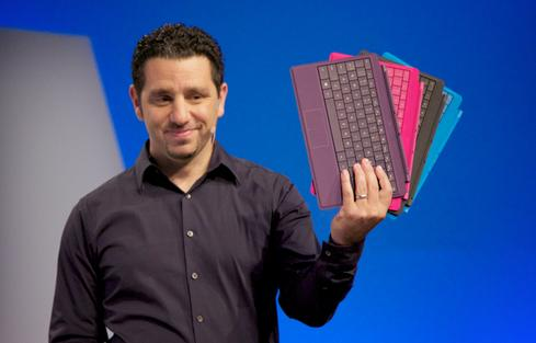 Microsoft VP Panos Panay displays new Surface keyboard accessories at the debut of the Surface 2 and Surface Pro 2 in New York.