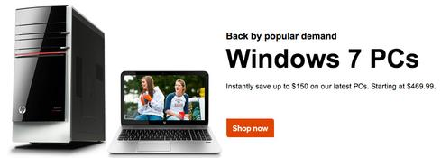 The Windows 7 promotional banner on HP's online store