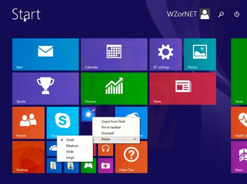 A screenshot from an alleged Windows 8.1 update shows a more mouse-friendly Start screen.  (Source: WZor.Net)