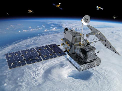 Visualization of the GPM Core Observatory and partner satellites orbiting Earth.(Source: NASA)