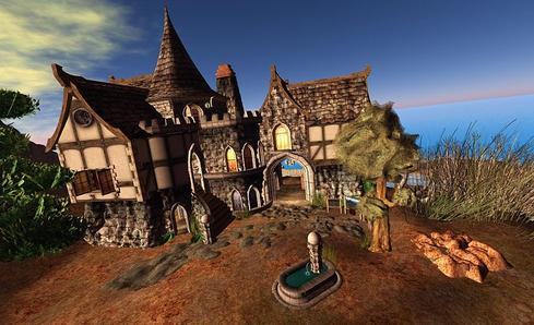 A building in Second Life. (Source: Torley)