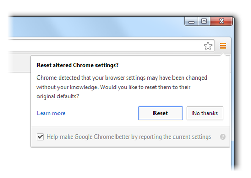 Chrome's hijacking alert warning.