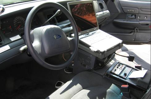 Los Angeles Police Department cruiser equipped with a rugged Dell laptop and wireless data access.  (Photo courtesy of Greg Rynerson Bail Bonds.)