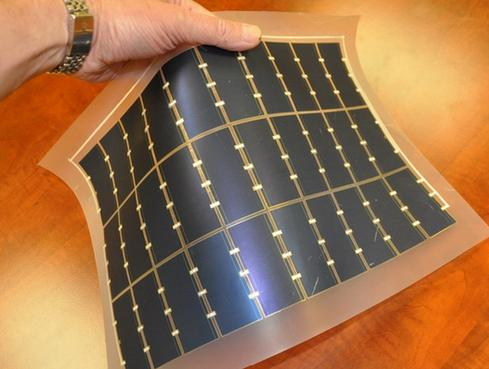 Flexible solar panels Flexible high-efficiency solar sheets like this one from MicroLink Devices, which collaborated on the design with the Navy Research Lab, contain 30 solar cells (each 20 cm2 in area) capable of generating 17.5 watts of power.  (Image: MicroLink Devices)