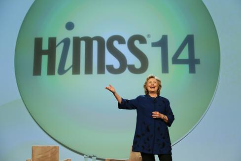 Hillary Clinton keynotes (Photo courtesy of HIMSS)
