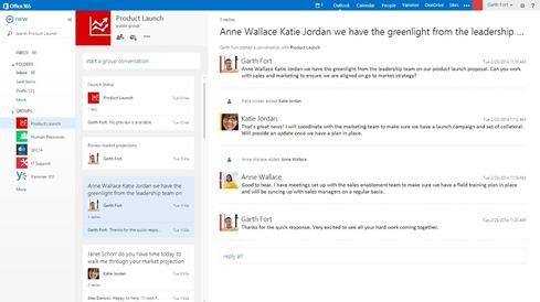 Office 365's Groups feature as it appears in Outlook  (Source: Microsoft)