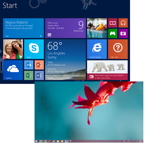 Boot to Desktop  In Windows 8.1, you can bypass the Start screen (and Modern UI altogether) by delving into the taskbar settings and configuring this option. Windows 8.1 Update 1 does this automatically on devices without touchscreens -- a very large market segment that includes most of today's enterprise desktop and laptop PCs. The change, while minor, may prove popular among Microsoft's corporate customers, many of whom don't want to spend the time and effort to retrain employees to use the Modern UI.