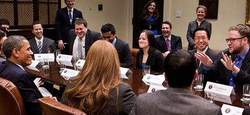 President Obama hears from recent Presidential Innovation Fellows.(Source: White House)