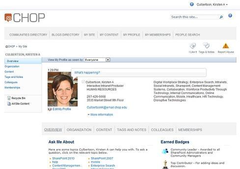 Kristen Culbertson's @chop profile.
