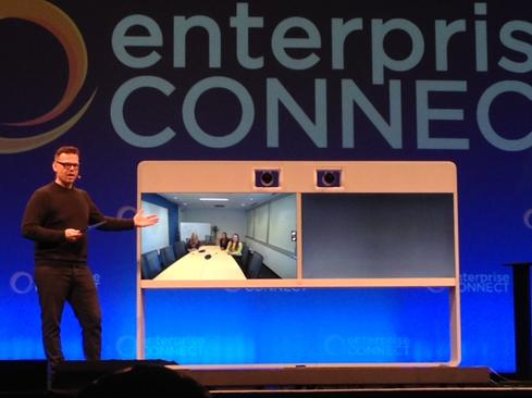 Cisco's Rowan Trollope demonstrates the TelepresenceMX700 at Enterprise Connect.