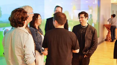 Google Glass wearers, interacting at the Google Glass and Future Health meetup in June 2013. (Source: Ted Eytan)