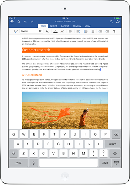 Microsoft Word on an iPad