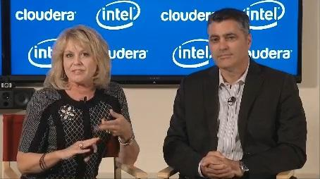 Diane Bryant, senior vice president and general manager of Intel's datacenter group, and Cloudera CEO Tom Reilly announce their partnership.