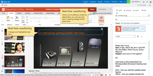 Outlook Web App supports document review and editing from within the email interface.